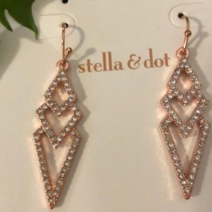 New Authentic S&D Pave Spear Earrings In S&D Box